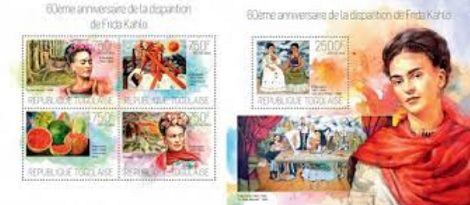 """Stamps """"60 years since the death of Frida Kahlo"""". Series of 2 blocks (4 and 1 stamp), Togo, 2014 