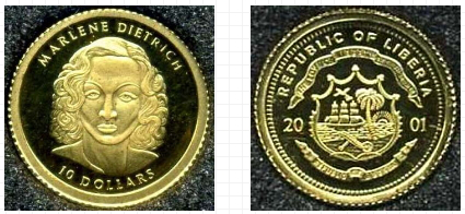 10 dollar gold coin, 2001, Republic of Liberia | Hobby Keeper Articles