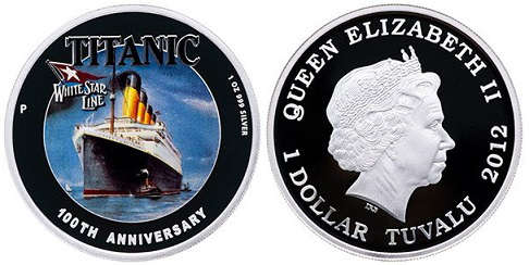 """1 dollar coin """"Titanic. 100th anniversary of the death"""", Tuvalu, 2012 