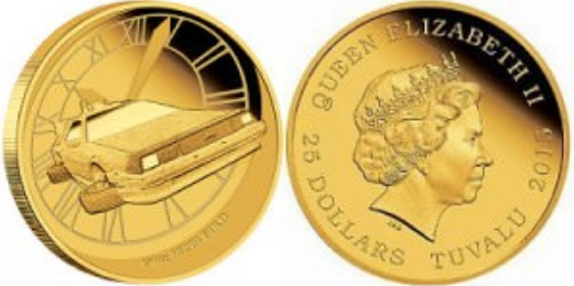 Gold coin 25 dollars with the image of the DeLorean DMC-12, Tuvalu, 2015 | Hobby Keeper Articles