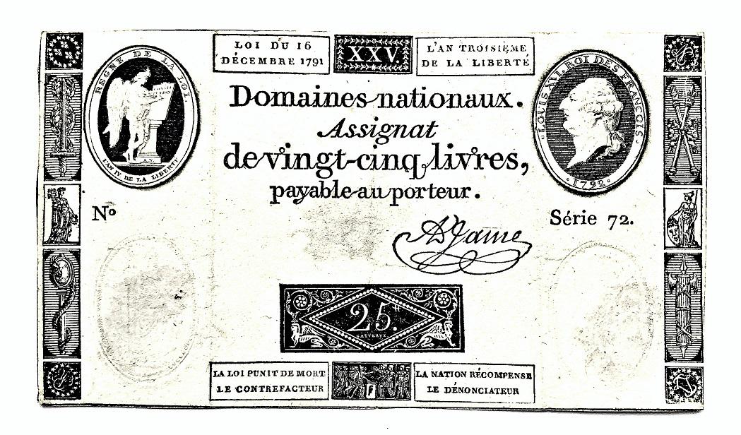 Assignat 25 livres, 1792, France | Hobby Keeper Articles