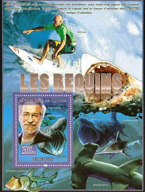 """Postage stamp from the series """"Shark"""" with Spielberg 