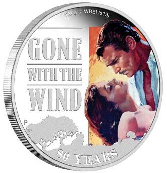 1 dollar coin on the reverse of Rhett Butler and Scarlett O'hara, Australia | Hobby Keeper Articles