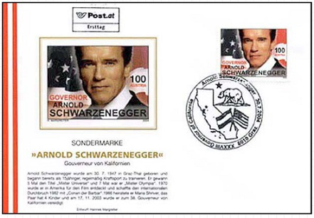 """Envelope of the first day """"Arnold Schwarzenegger"""", 2004, Austria