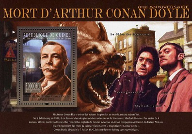 "Block of stamps 30,000 francs ""Sherlock Holmes"", 2010, Republic of Guinea 