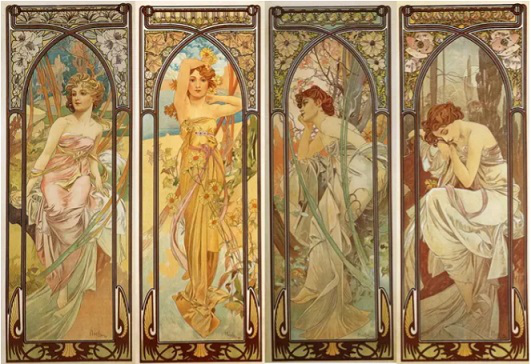 """Poster """"Time of day"""", Alphonse Mucha 