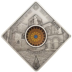 Silver coin 10 dollars, on the reverse facade of the Church of the Holy Sepulchre, 2018, Republic of Palau   Hobby Keeper Articles