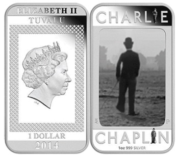 1 dollar coin with Chaplin, 2014, Tuvalu| Hobby Keeper Articles