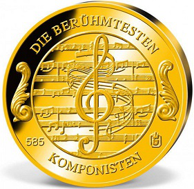 Golden round with a picture of Beethoven, reverse | Hobby Keeper Articles