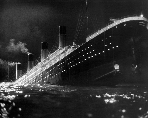 """""""The Titanic passenger liner in a frame from the movie"""" Memory of the night """". United Kingdom, 1958 