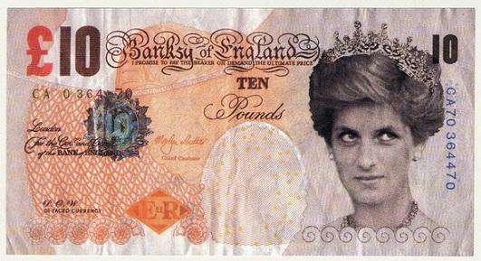 Fake 10 pound note featuring Diana, 2004   Hobby Keeper Articles
