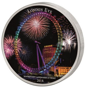 """Silver coin with color printing """"London Ferris Wheel"""", 2018, cat-d'<url>   Hobby Keeper Articles"""