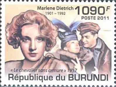 Stamp with Marlene Dietrich, Republic of Burundi, 2011 | Hobby Keeper Articles
