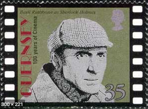 "Stamp from the series ""100 years of cinema on the island of Guernsey-Basil Rathbone as Sherlock Holmes"", UK, 1996