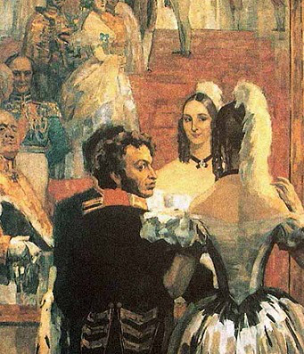 "Painting ""Pushkin and his wife at a court ball in front of a mirror"", N. p. Ulyanov, 1937 / Hobby Keeper Articles"