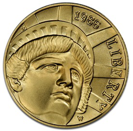 "Gold coin 5 dollars on the reverse ""Statue of liberty"", 1986, USA 