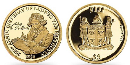 "Coin 5 $ ""Beethoven"", 2020, Fiji 