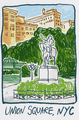 New York postage stamp featuring Union Square | Hobby Keeper Articles