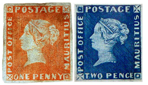 """Postage stamps """"Pink and Blue Mauritius"""", 1847, Mauritius 