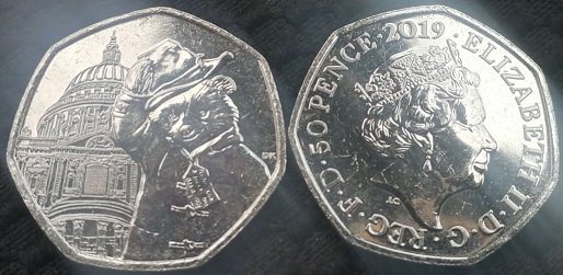 50p coin, Paddington Bear on the background of St Paul's Cathedral, 2019, United Kingdom   Hobby Keeper Articles
