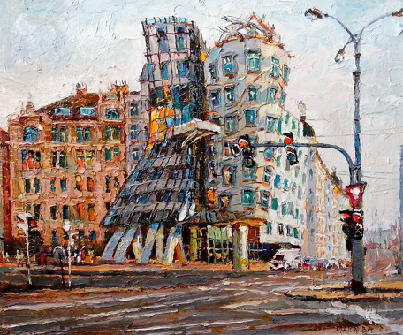 """Painting """" Dancing house. Prague """" 