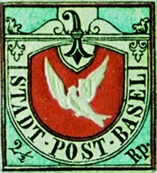 """Postage stamp """"Basel Dove"""", 1845, Switzerland 