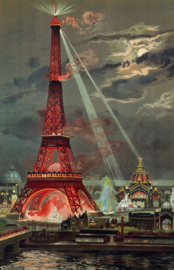 George Garen's chromolithography of the Eiffel tower illuminations (1889) | Hobby Keeper Articles