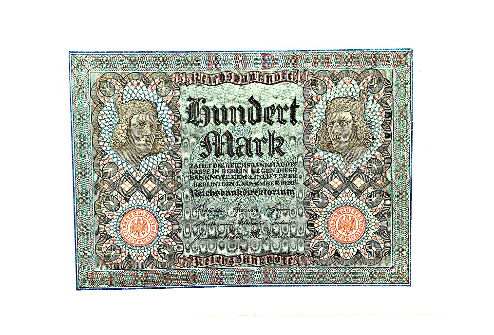 Banknote of 100 stamps the 1920s, the Weimar Republic | Hobby Keeper Articles