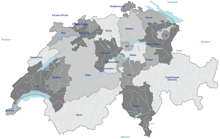Territorial structure of Switzerland by cantons | Hobby Keeper Articles