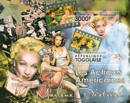 """Memorable block of the series """"American Actresses"""" with Marlene Dietrich, Togo, 2011 