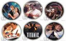 """Set of coins with shots from the movie """"Titanic"""", cook Islands 
