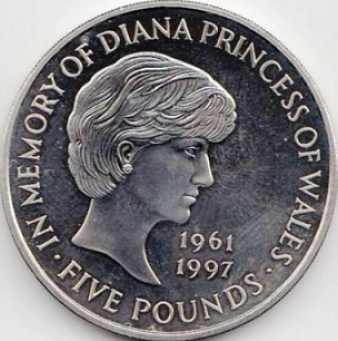 5 pound coin 'In memory of Princess Diana', 1999, UK   Hobby Keeper Articles