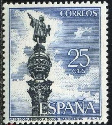 """Postage stamp """"Monument to Columbus"""", Spain, 1965