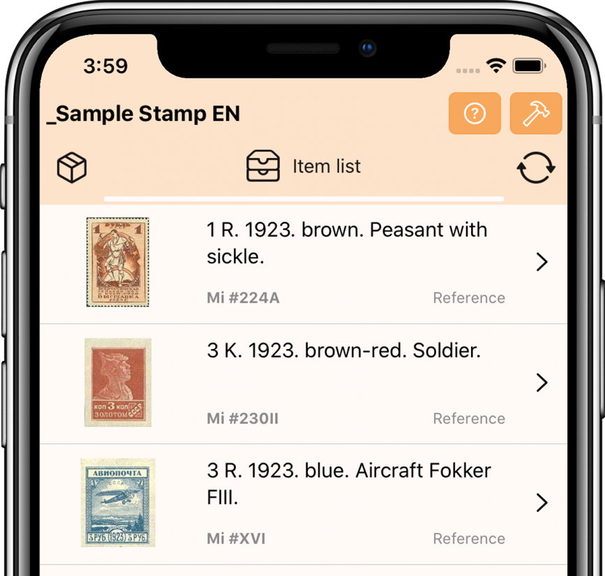 Postage stamp list | My philately | IOS