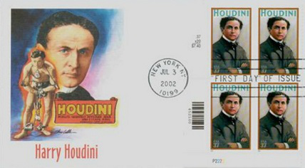 An envelope with Harry Houdini, 2002, United States | Hobby Keeper Articles