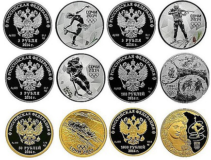 Commemorative coins with images of winter sports, Russia | Hobby Keeper Articles