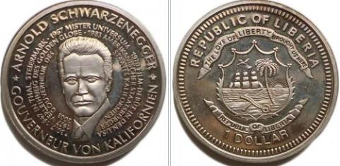 1 dollar coin with A. Schwarzenegger, Liberia, 2003 | Hobby Keeper Articles