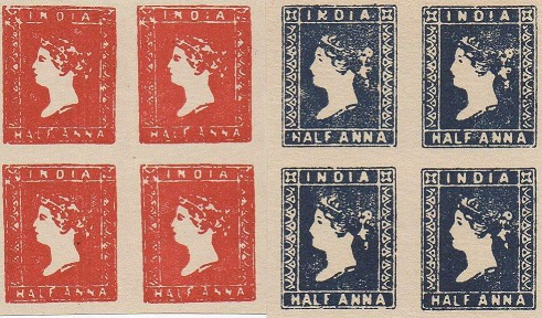 Blocks of 4 stamps, half-anna, India, 1854   Hobby Keeper Articles