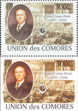 "Stamp ""Portrait Of Arthur Conan Doyle"", Comoros, 2009 