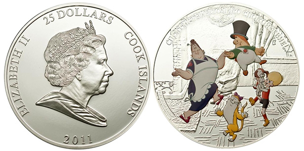 25 dollar coin with the characters of the cartoon about Carlson on the reverse, 2011, cook Islands | Hobby Keeper Articles