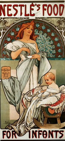 """Poster """"Nestle baby food advertising"""", A. Mucha 