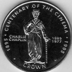 Coin 1 Krona, 1996, Gibraltar, the reverse with Chaplin | Hobby Keeper Articles