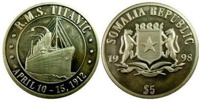 Titanic $ 5 coin, Somalia, 1998 | Hobby Keeper Articles