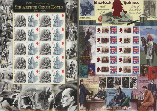 "Small leaf stamps 2009, UK ""150 years since the birth of sir Arthur Conan Doyle"" 