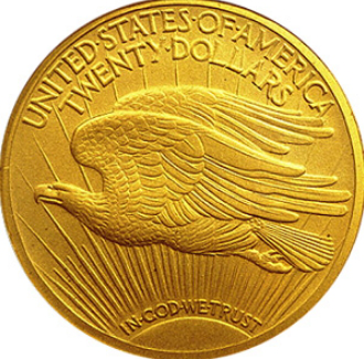 Gold coin 20 dollars reverse-bald eagle, 1912, USA | Hobby Keeper Articles