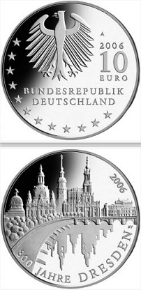 "10 Euro coin ""Dresden"", 2006, Germany 