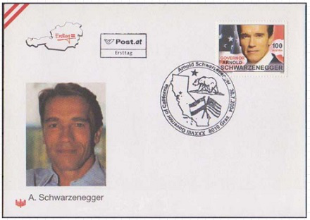First day envelope with Arnold Schwarzenegger | Hobby Keeper Articles