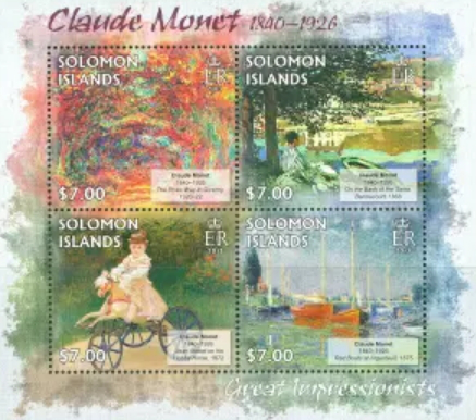 Stamps Solomon Islands with paintings by Monet | Hobby Keeper Articles