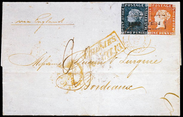 """""""bordeaux envelope"""" with """"pink"""" and """"blue mauritius"""" 