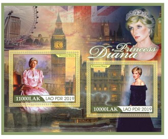 Diana stamp sheet, 2019, Lao people's democratic Republic   Hobby Keeper Articles